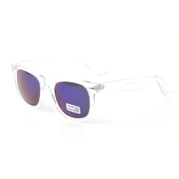 Transparante Wayfarer met blauwe glazen