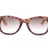 Bamboe zonnebril met luipaardprint voorkant, Brillenbaas