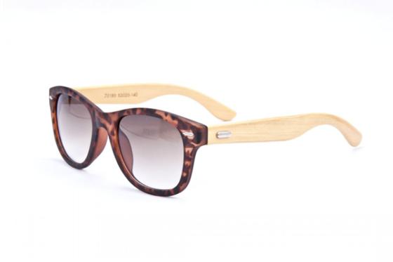 Bamboe zonnebril met luipaardprint - Brillenbaas