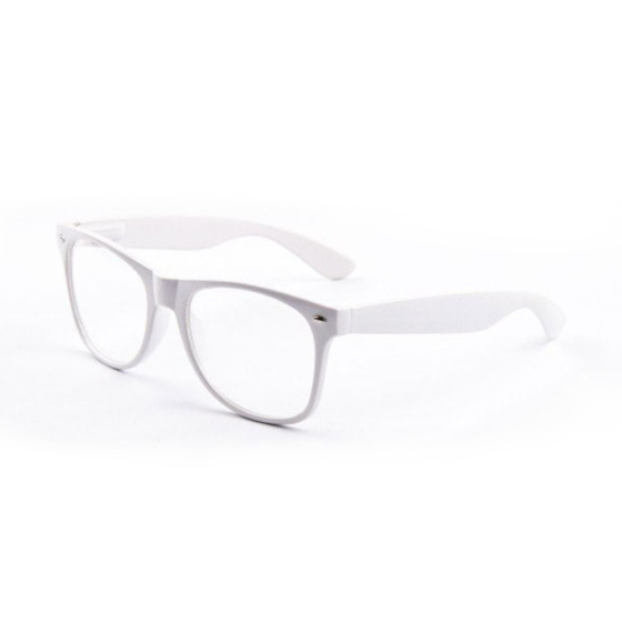 Witte nerd wayfarer bril transparante glazen Brillenbaas