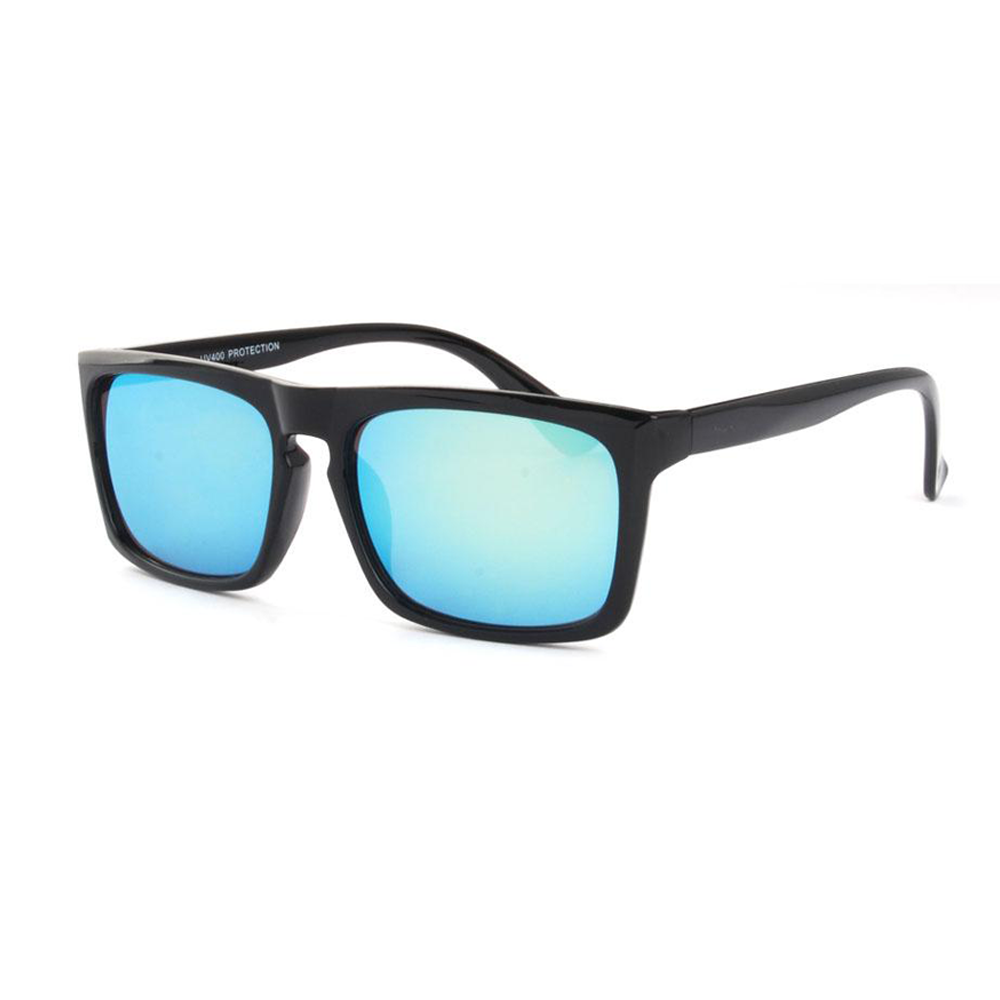 "Sportieve wayfarer zwart met blauw-groene spiegelglazen ""Sporway"""