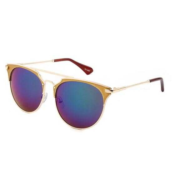 """Retro gouden zonnebril blauw-groene spiegelglazen """"Goldfinger"""""""