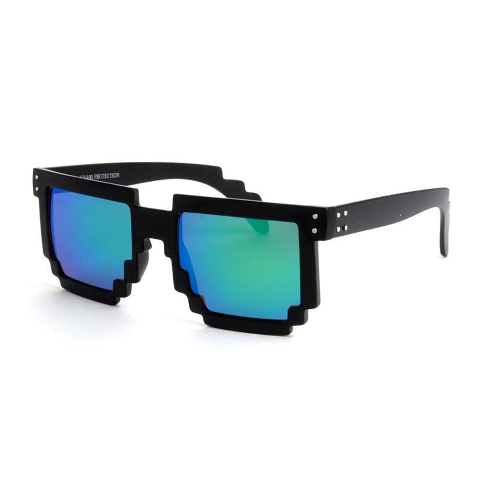 """Festival pixel zwarte zonnebril met blauw-groen spiegelglazen """"Pixvalley"""""""