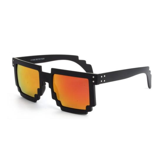 """Festival pixel zwarte zonnebril met goud-rode spiegelglazen """"Pixyland"""""""